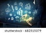 man touching technology smart... | Shutterstock . vector #682515379