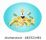 successful woman sitting on... | Shutterstock .eps vector #682521481