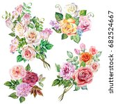 set of roses bouquets.watercolor | Shutterstock . vector #682524667