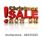 abstract 3d illustration of christmas sale sign, over white background - stock photo