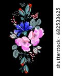 embroidered folk ornament of...   Shutterstock .eps vector #682533625