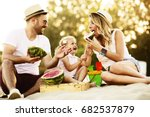 happy family is enjoying beach... | Shutterstock . vector #682537879