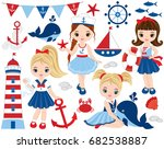 vector nautical set with cute... | Shutterstock .eps vector #682538887