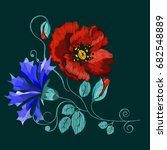 embroidery poppies  ethnic... | Shutterstock .eps vector #682548889