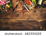 grilled t bone steaks with... | Shutterstock . vector #682554205