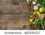 fresh herbs and spices on... | Shutterstock . vector #682554217