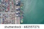 container ship in export and... | Shutterstock . vector #682557271