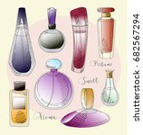 set of perfume fashion. | Shutterstock . vector #682567294