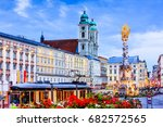 Linz, Austria. Holy Trinity column on the Main Square (Hauptplatz).