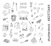 bathroom objects hand drawn... | Shutterstock .eps vector #682572664