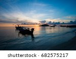 beautiful sunset and thai boats ... | Shutterstock . vector #682575217
