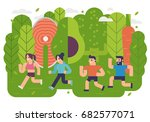 healthy running | Shutterstock .eps vector #682577071