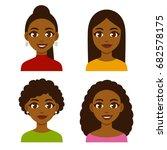 cute cartoon black girls with... | Shutterstock . vector #682578175