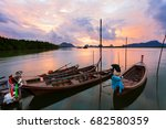 longtail boat with coastal... | Shutterstock . vector #682580359