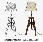 tripod wooden easel lamp... | Shutterstock .eps vector #682583839