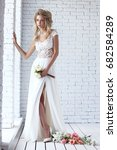 beautiful young bride in white... | Shutterstock . vector #682584289