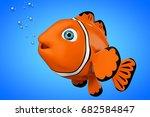 cartoon red sea clownfish on a... | Shutterstock . vector #682584847