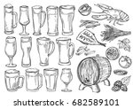 beer glasses and mugs. sketch... | Shutterstock .eps vector #682589101