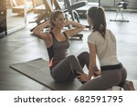 young women exercise together... | Shutterstock . vector #682591795