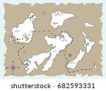old treasure map leading to... | Shutterstock .eps vector #682593331
