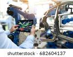 industry 4.0 concept . man hand ... | Shutterstock . vector #682604137