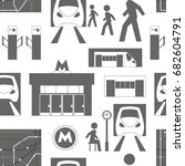 metro underground symbols... | Shutterstock . vector #682604791