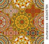 patchwork pattern. vintage... | Shutterstock .eps vector #682605784