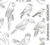 bird set colorful pattern.  | Shutterstock . vector #682606195