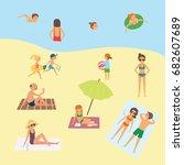 people on the beach. cartoon... | Shutterstock .eps vector #682607689