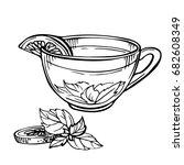 hand drawn sketch of tea. cup...   Shutterstock .eps vector #682608349
