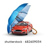 Stock photo car protection and safety assurance concept modern red automobile under blue umbrella isolated on 682609054