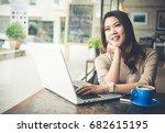 young beautiful asian woman... | Shutterstock . vector #682615195