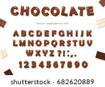 chocolate font design. sweet... | Shutterstock .eps vector #682620889