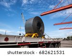 transportation of coiled steel... | Shutterstock . vector #682621531