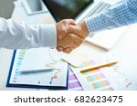 businessmen shaking hands in... | Shutterstock . vector #682623475