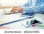 young businessman working  in... | Shutterstock . vector #682623481
