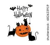 happy halloween with pumpkin... | Shutterstock .eps vector #682623919