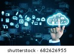hand press cloud | Shutterstock . vector #682626955
