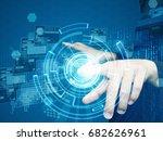 businessman press virtual screen | Shutterstock . vector #682626961