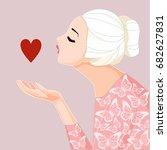 illustration girl with heart. i ... | Shutterstock .eps vector #682627831