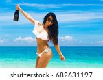 beautiful brunette girl with... | Shutterstock . vector #682631197