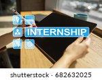 internship text on virtual... | Shutterstock . vector #682632025