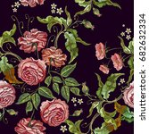 roses embroidery seamless... | Shutterstock .eps vector #682632334