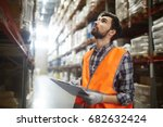 portrait of warehouse worker... | Shutterstock . vector #682632424