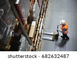 above view of warehouse loader... | Shutterstock . vector #682632487
