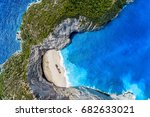 aerial view of navagio ... | Shutterstock . vector #682633021