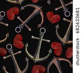 embroidery  anchor and heart...   Shutterstock .eps vector #682633681