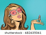 beautiful woman with lipstick... | Shutterstock .eps vector #682635061