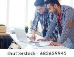 clever guys reading online data ... | Shutterstock . vector #682639945
