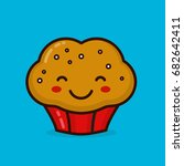 cute happy smiling muffin... | Shutterstock .eps vector #682642411